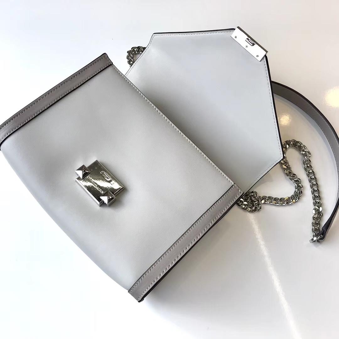 迈克科尔斯官网 MK Whitney手袋灰色拼Napa牛皮链条单肩斜挎包23.5cm