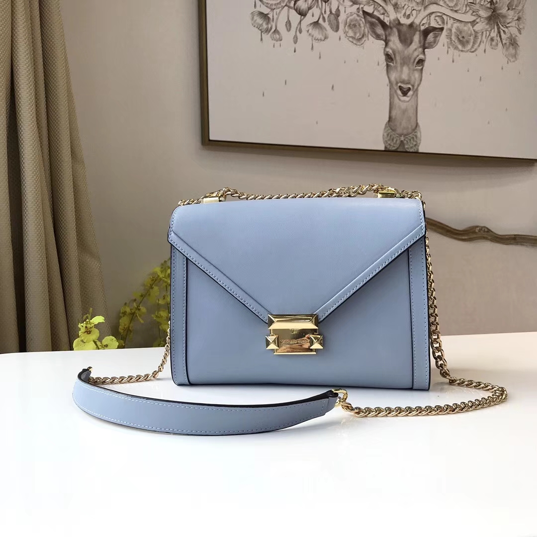 MK新款女包 迈克科尔斯蓝色napa平纹牛皮链条单肩斜挎Whitney包包23.5cm