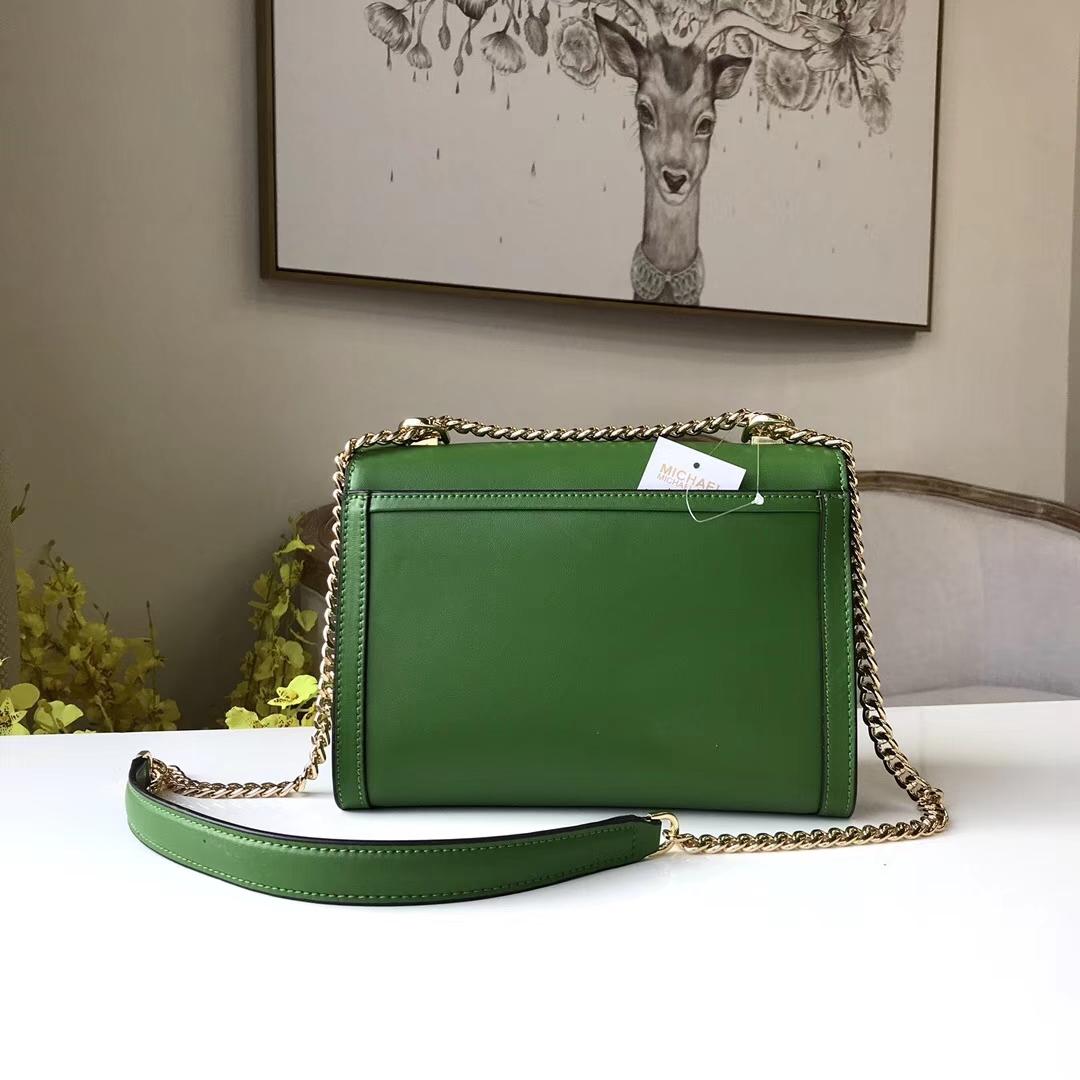 迈克科尔斯包包 MK Whitney手袋绿色napa牛皮链条包单肩女包23.5CM