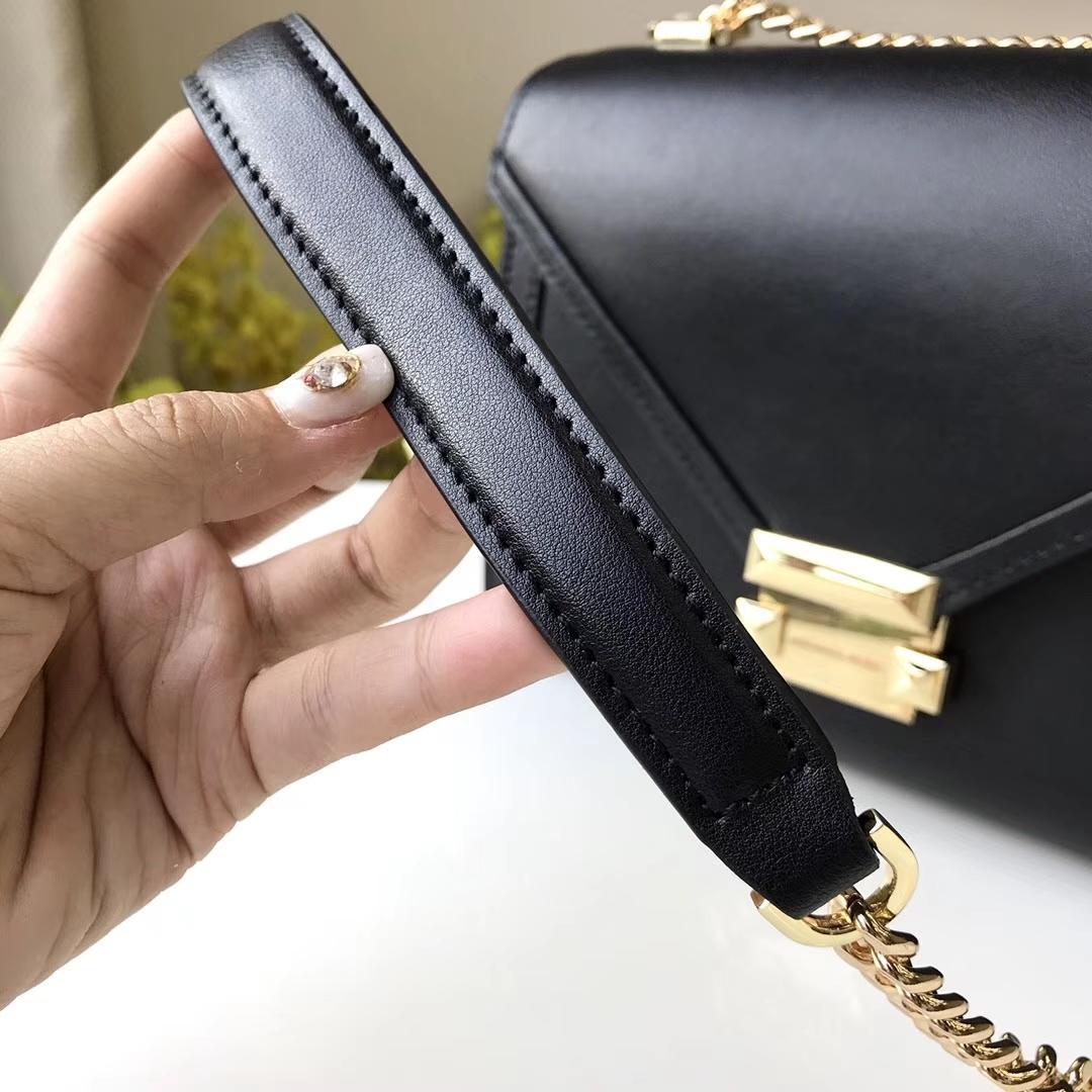 MK新款Whitney手袋 迈克科尔斯黑色napa牛皮链条单肩斜挎女包23.5CM