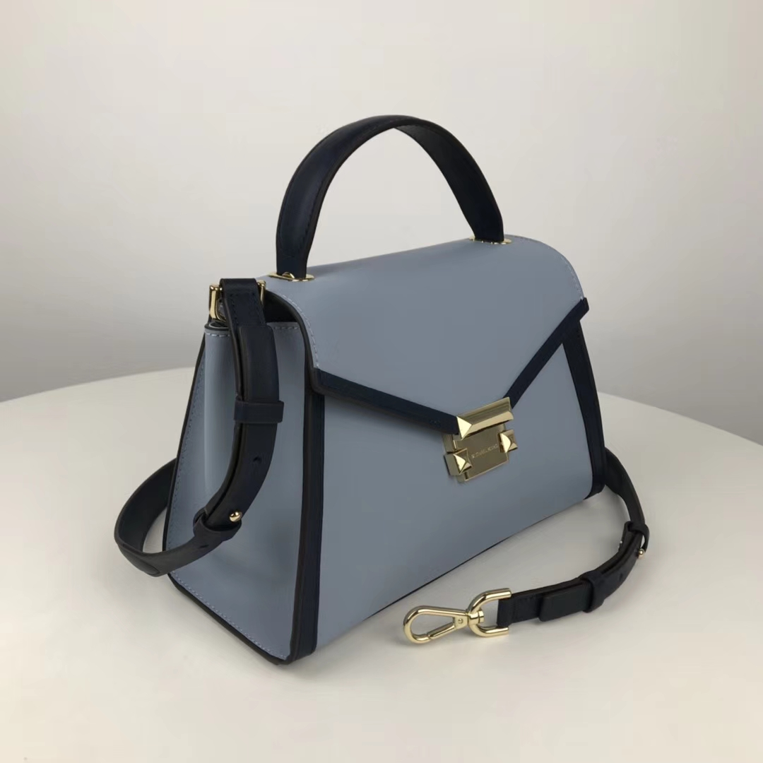 MK2018新款女包 迈克科尔斯纳帕牛皮中号Whitney手提女包 蓝色拼色