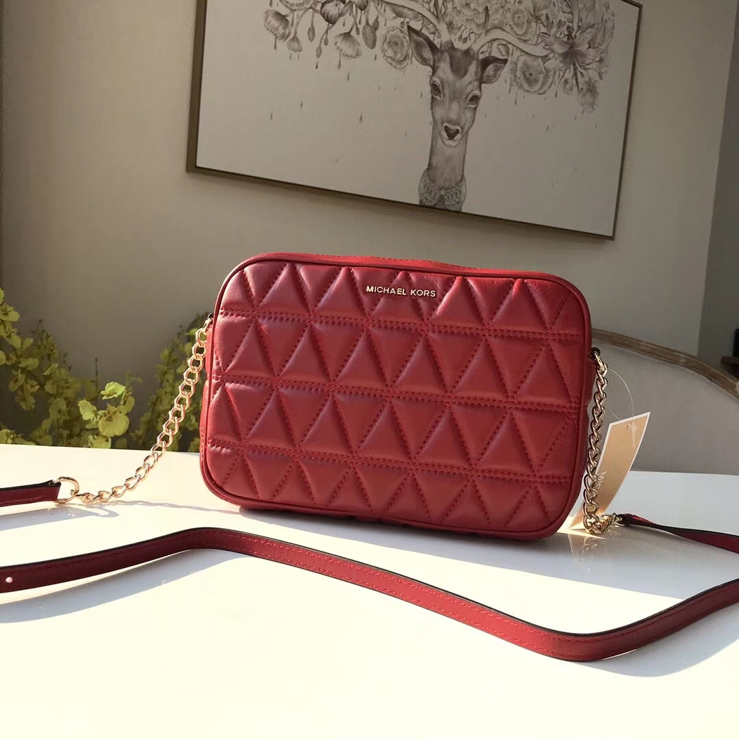 迈克科尔斯包包 MK红色原单小羊皮三角纹链条单肩斜挎女包23cm