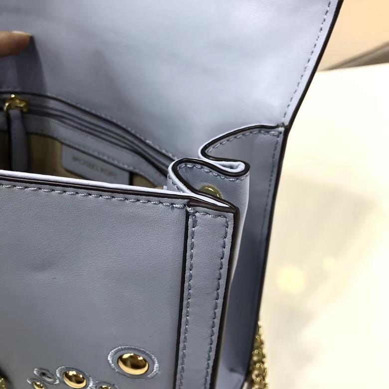 MK包包官网 迈克科尔斯蓝色纳帕牛皮刺绣装饰Whitney女包链条单肩包23.5cm