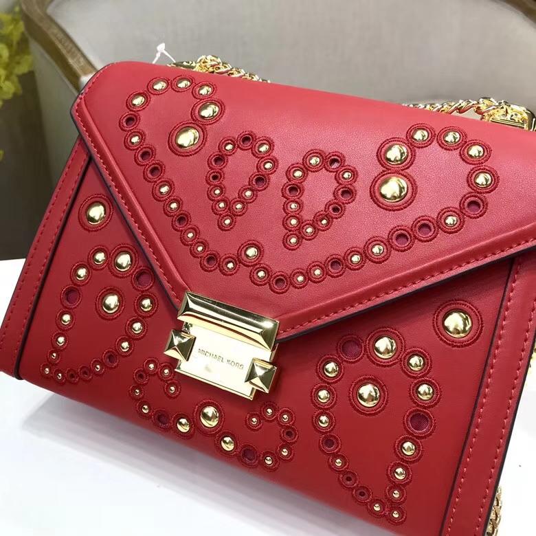 迈克高仕包包 MK原单纳帕牛皮铆钉刺绣Whitney手袋链条单肩斜挎女包 红色