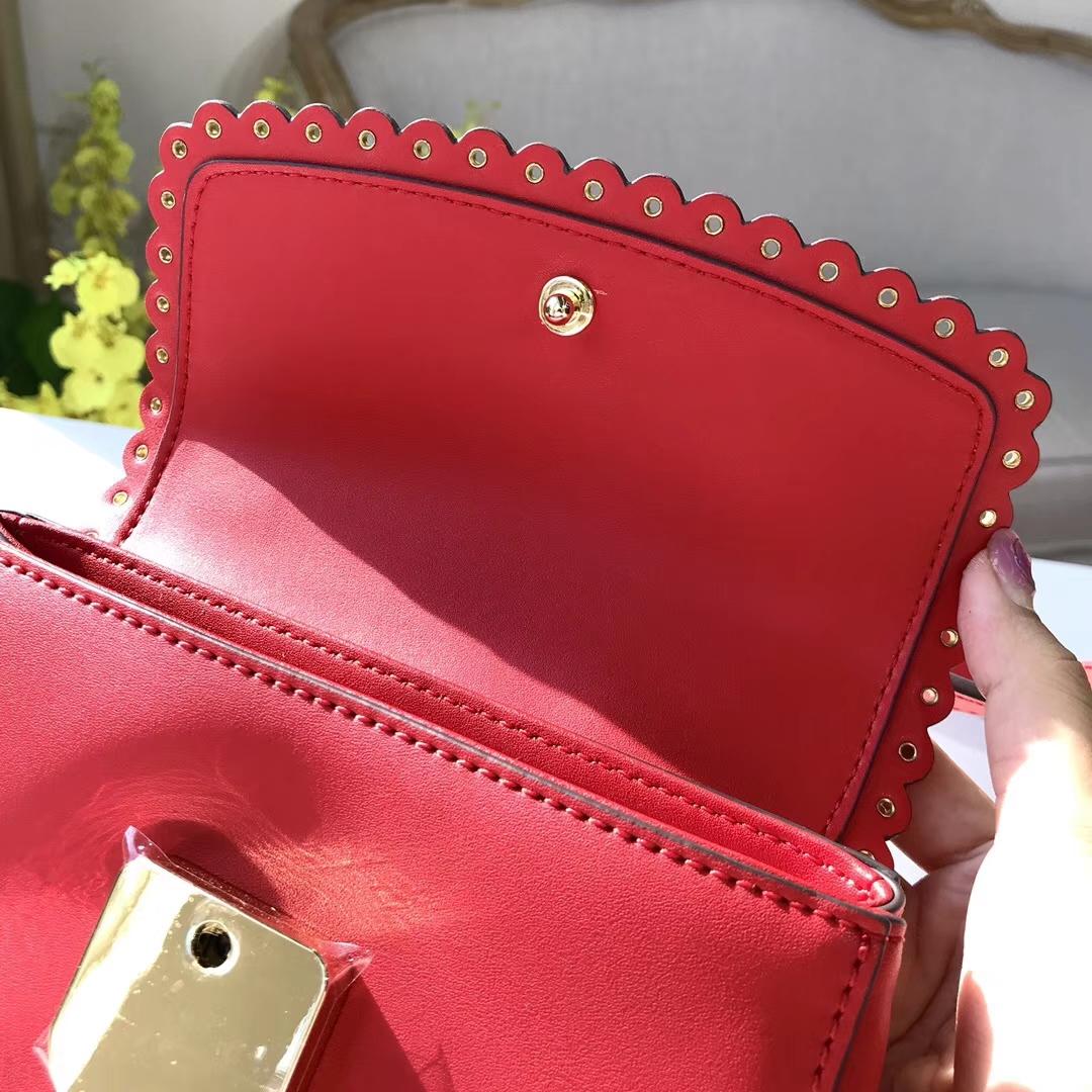 MK新款女包 Ava系列花边款mini手袋单肩斜挎包19cm 红色纳帕牛皮
