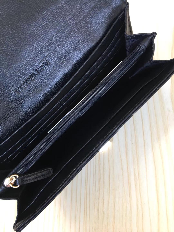 MK2018新款钱包 迈克高仕MK进口羊皮V纹长款钱包手拿包20CM 黑色