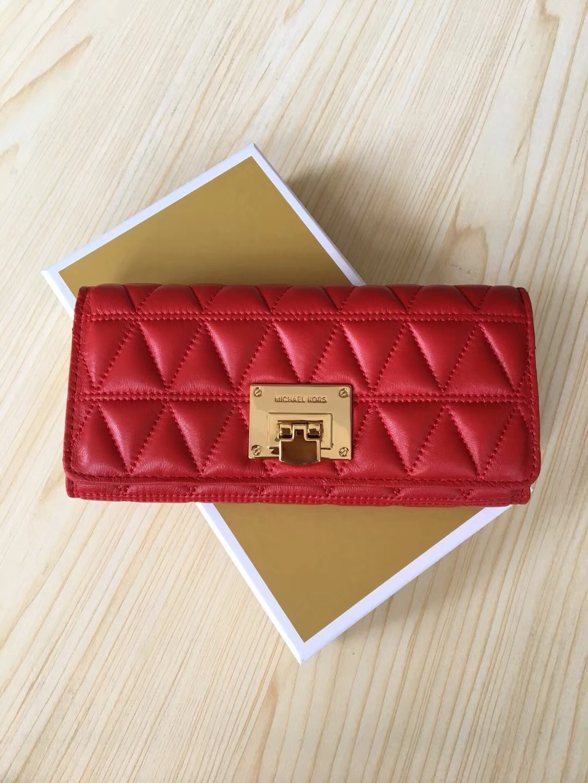 MK钱夹批发 迈克科尔斯MK新款V纹羊皮长款钱包手包20CM 红色