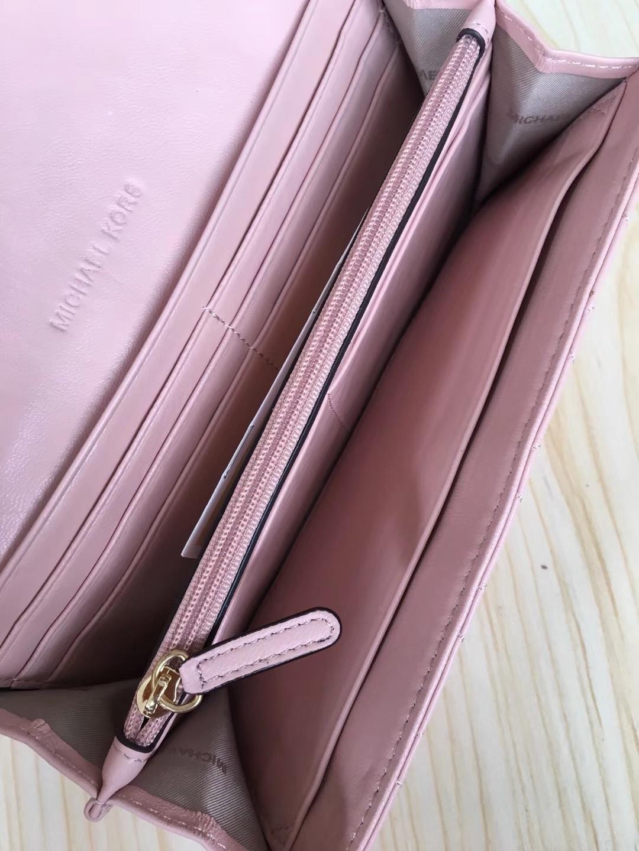 MK新款钱包 迈克高仕MK羊皮v型长款钱夹手拿包20cm 粉色