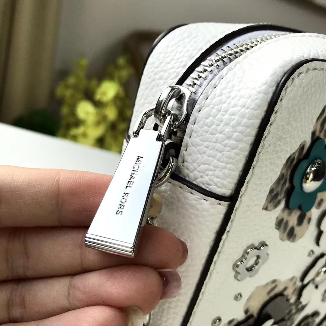 MK包包批发 迈克科尔斯MK新款白色荔枝纹牛皮拼花款斜挎女包24CM