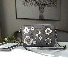 迈克科尔斯包包 MK新款拼色花朵荔枝纹牛皮链条单肩斜挎女包24CM 灰色