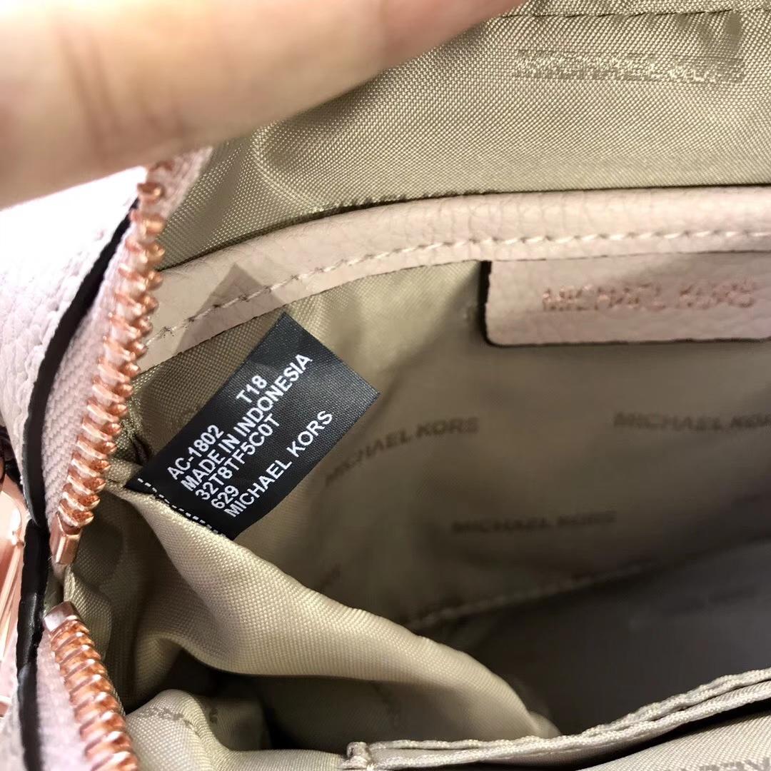 广州包包批发 迈克科尔斯MK新款荔枝纹牛皮手提方包单肩女包 粉拼白色