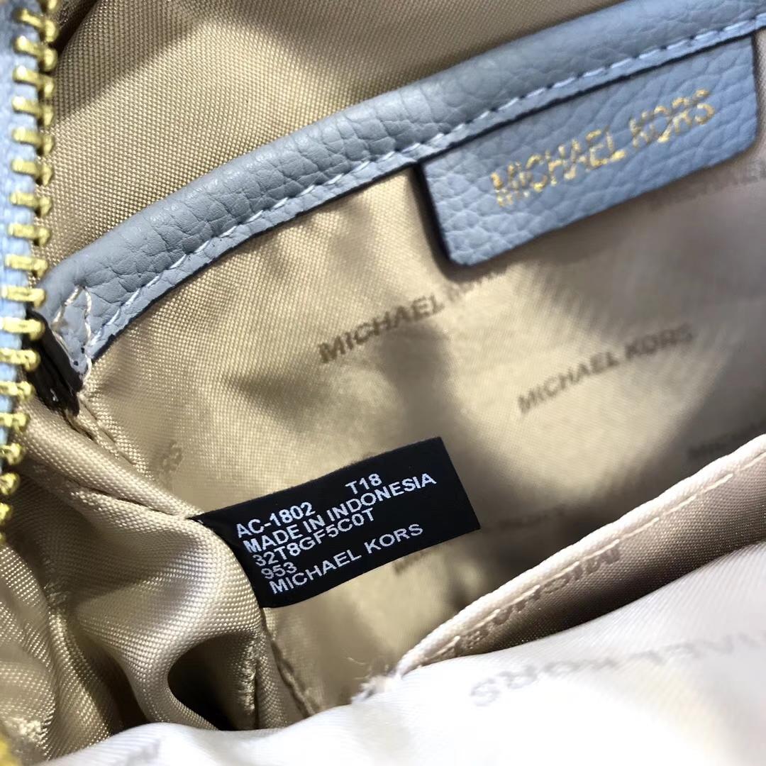 MK新款女包 迈克科尔斯蓝拼白色荔枝纹牛皮手提包单肩包17CM