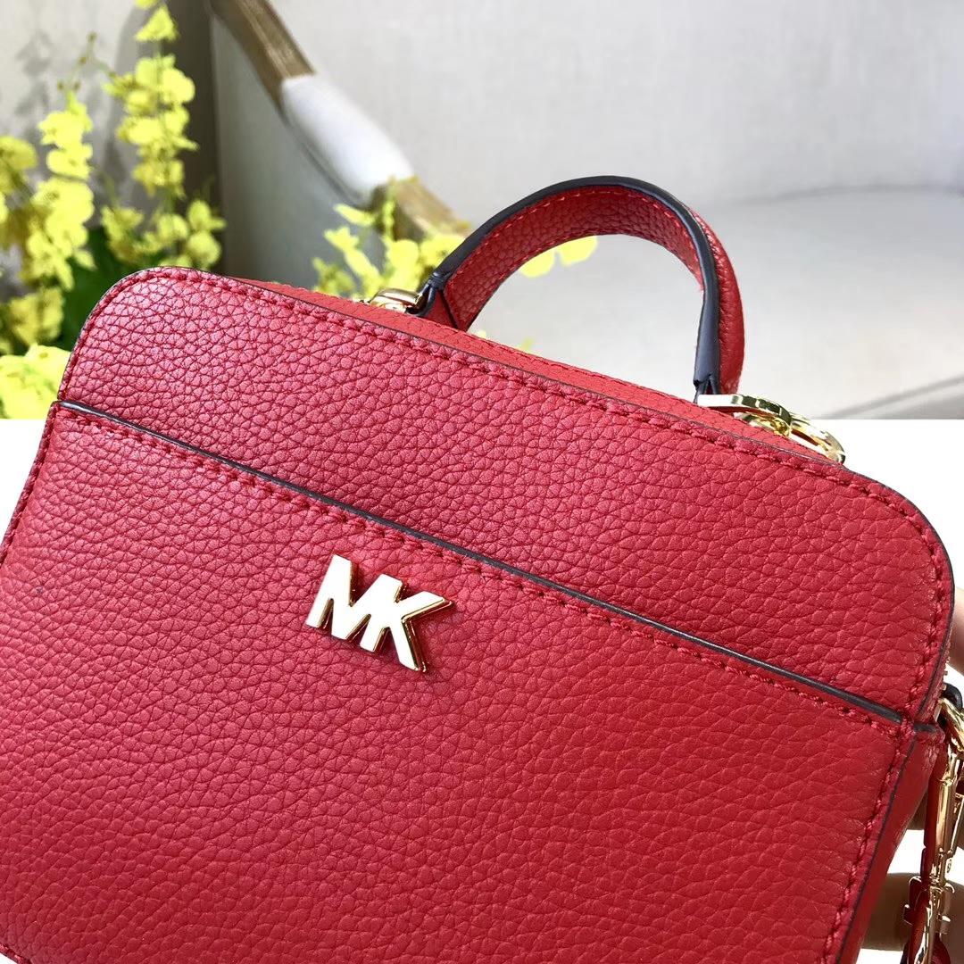 MK包包官网 迈克科尔斯MK进口荔枝纹牛皮手提包单肩斜挎包17CM 红色