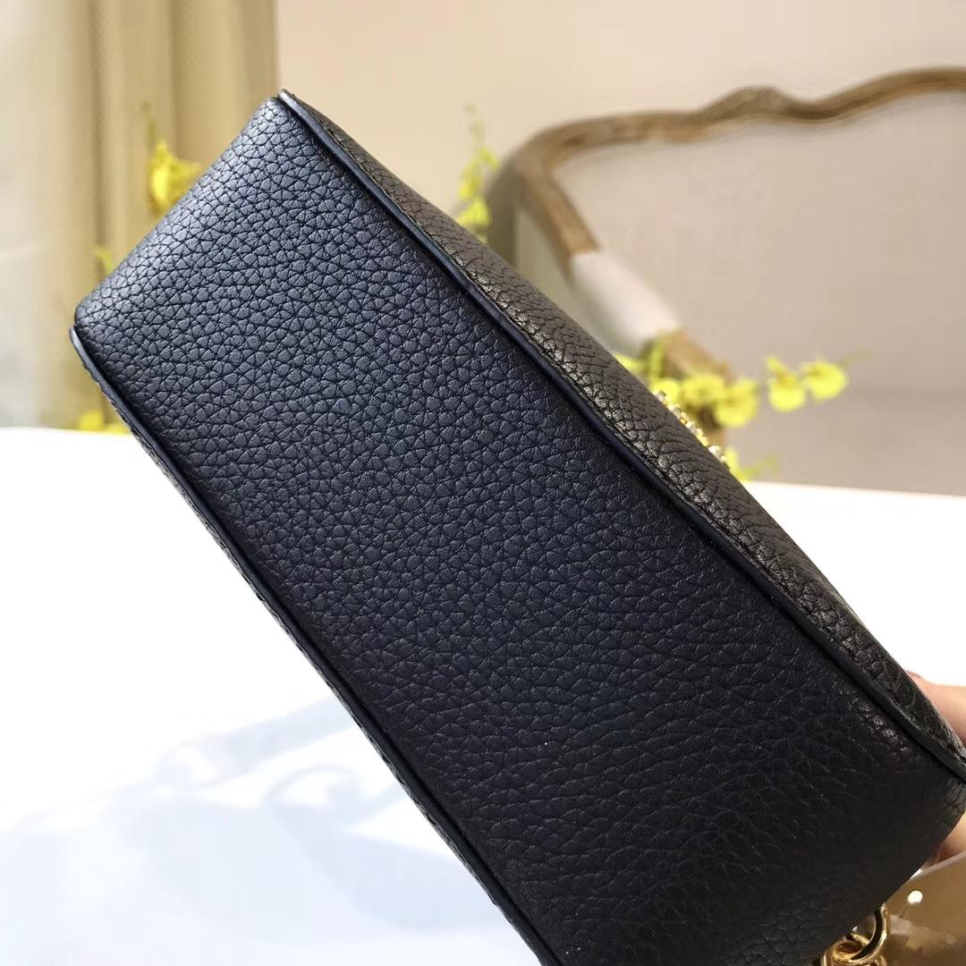 迈克科尔斯女包 MK新款黑色荔枝纹牛皮手提小方包单肩斜挎包17cm