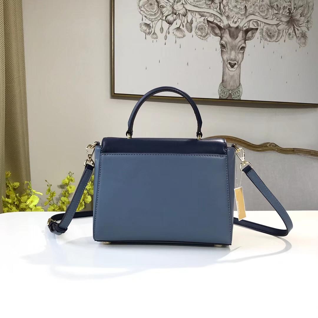 MK包包批发 迈克科尔斯新款蓝色拼牛皮Mindy手袋手提女包22CM