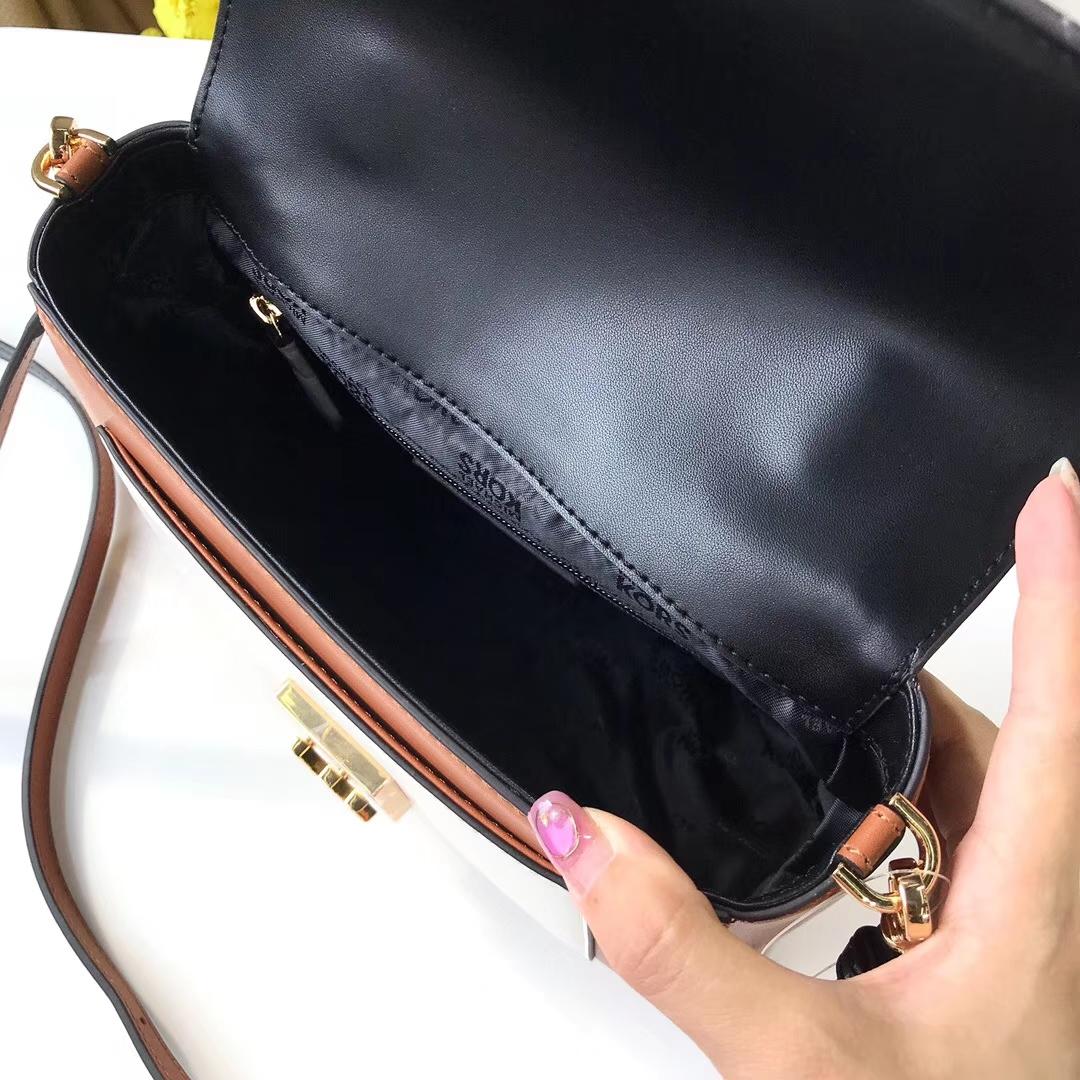 迈克高仕官网 MK新款女包Mindy手袋 棕色拼黑色手提包22cm