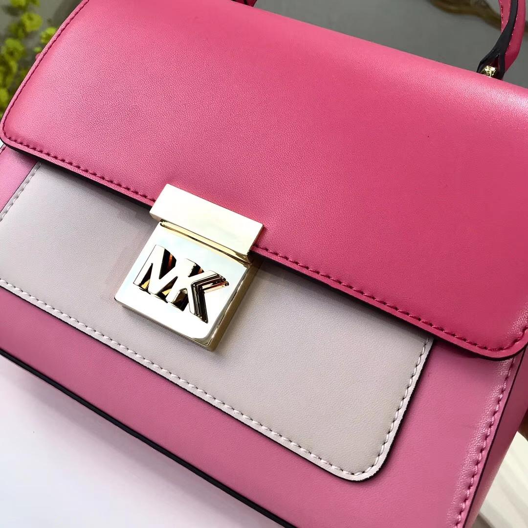 MK新款女包 迈克科尔斯粉色拼色Mindy手提包单肩斜挎包22CM