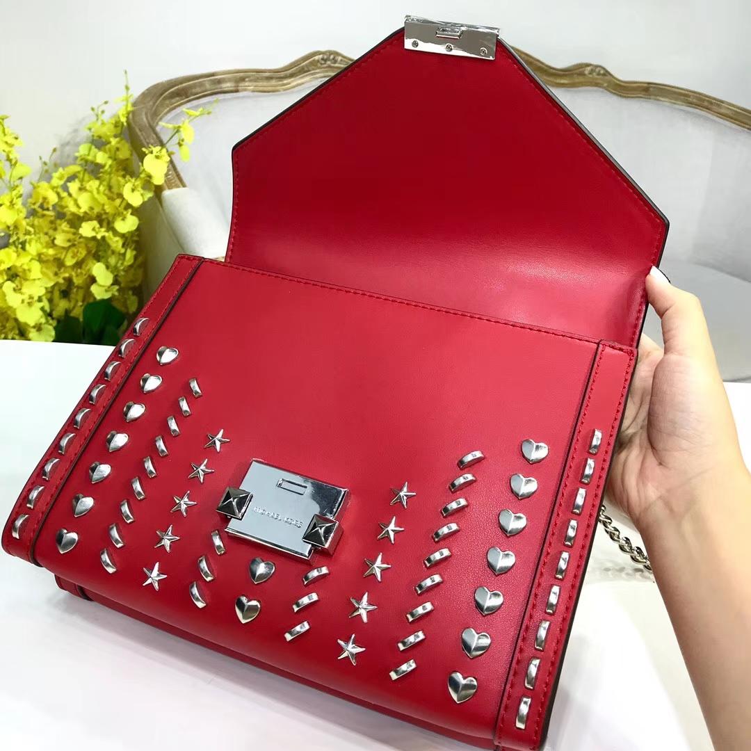迈克高仕新款包包 MK红色进口牛皮铆钉链条包单肩女包24CM