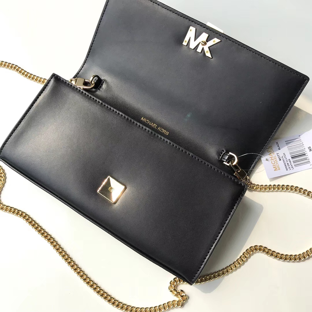 迈克科尔斯包包 MK新款纳帕牛皮链条斜挎女包单肩包手拿包24CM 黑色