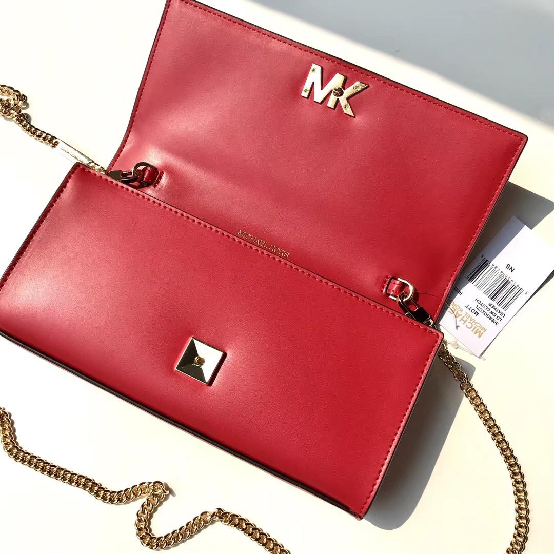 MK新款女包 迈克高仕红色纳帕牛皮链条单肩斜挎小包手拿包24CM