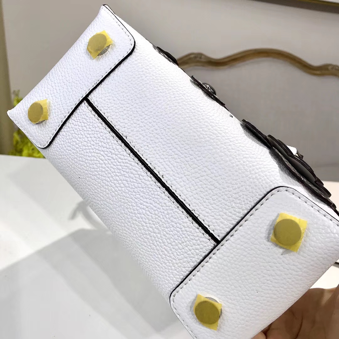 MK包包价格 MK2018新款立体小雏菊花朵牛皮Mercer手提单肩女包 22CM 白色