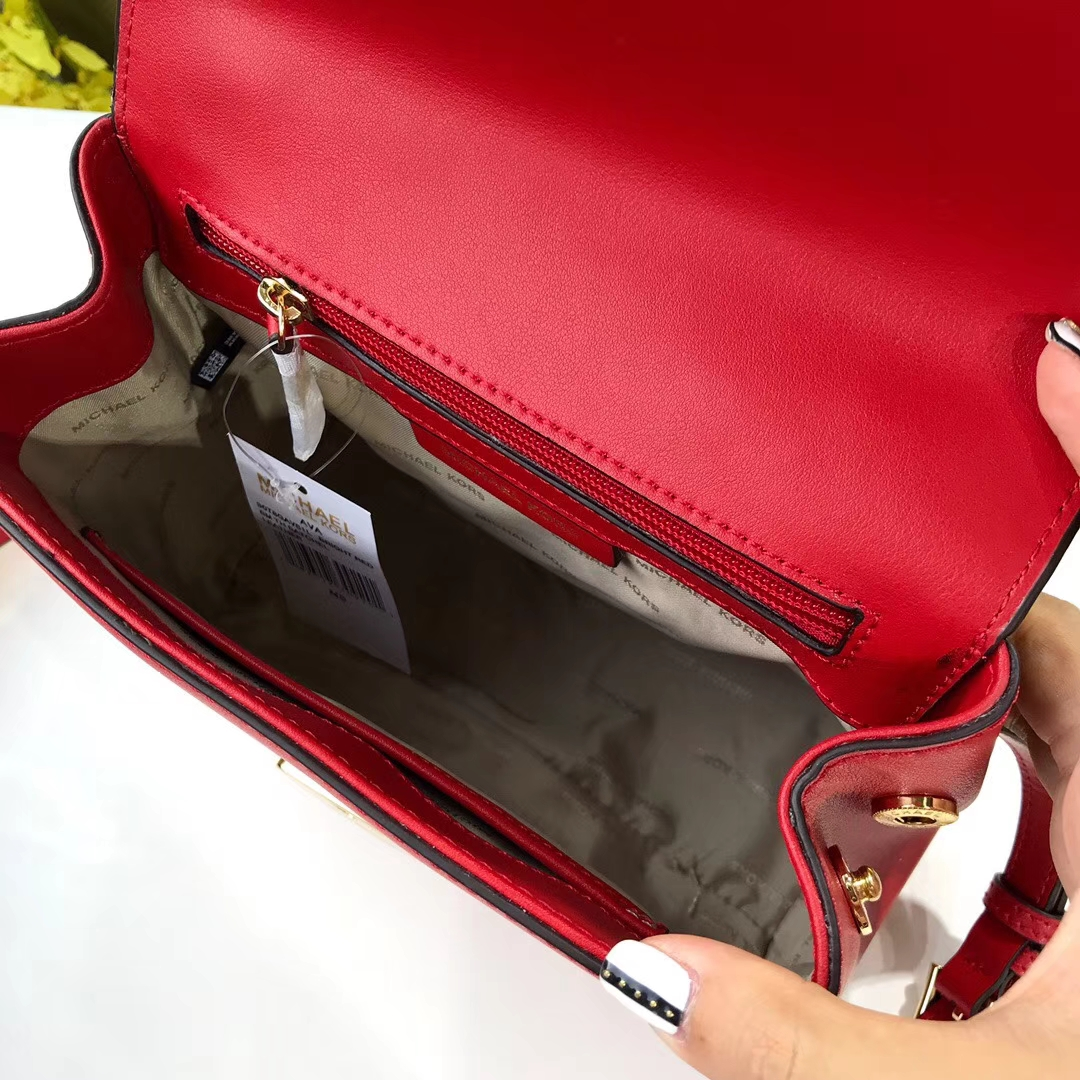 广州包包批发 MK2018新款Napa牛皮小号Ava剑桥包手提单肩包包21cm 红色