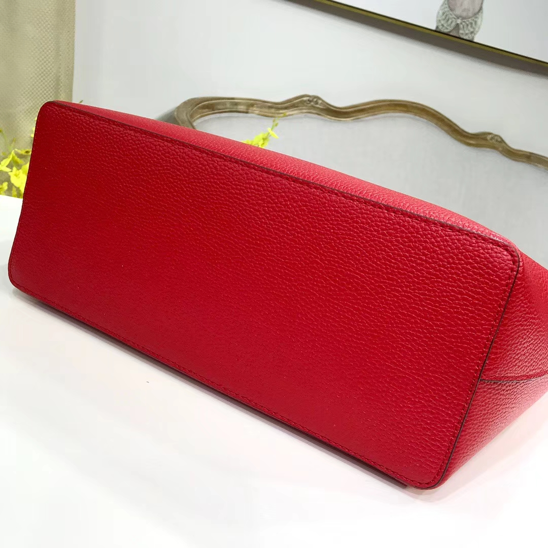 迈克高仕包包 MK原单荔枝纹牛皮2018新款购物包女款单肩包30CM 红色