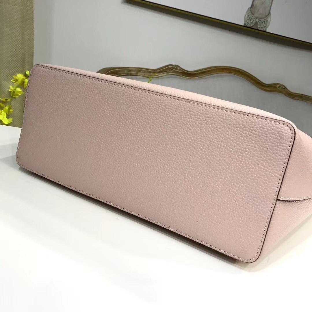 一件代发 迈克高仕MK原单荔枝纹牛皮新款购物包单肩女包30CM 粉色