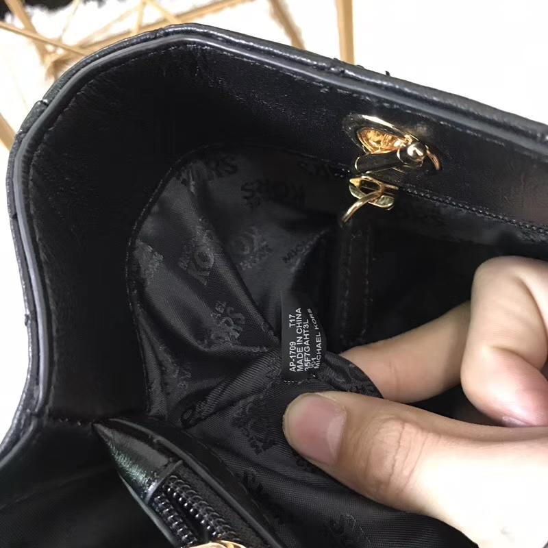 迈克科尔斯包包 MK黑色三角车线款原单羊皮玳瑁包链条单肩女包32CM