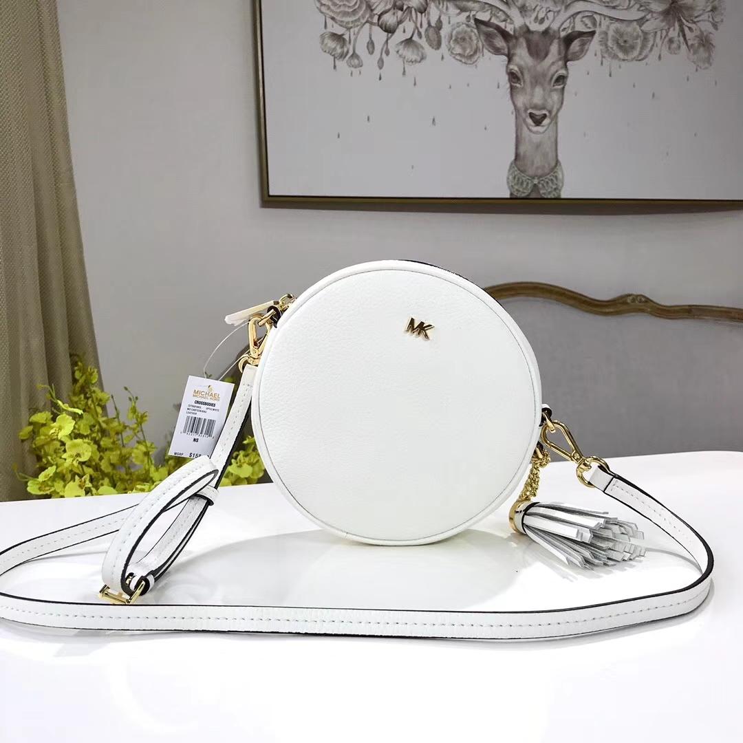 MK2018新款包包 迈克科尔斯白色荔枝纹牛皮圆形单肩斜挎小包17CM