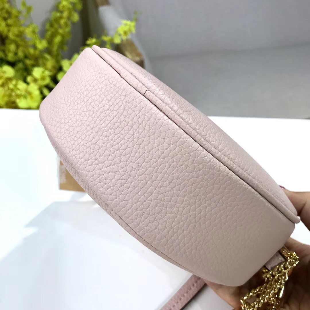 迈克科尔斯官网 MK2018新款荔枝纹牛皮圆形小斜挎单肩女包 粉色