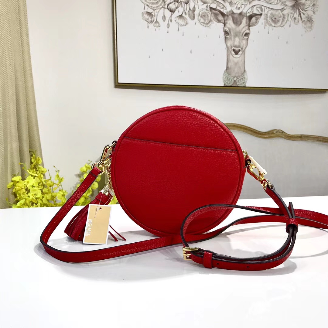 厂家直销 MK迈克科尔斯进口荔枝纹牛皮圆形斜挎女包 红色