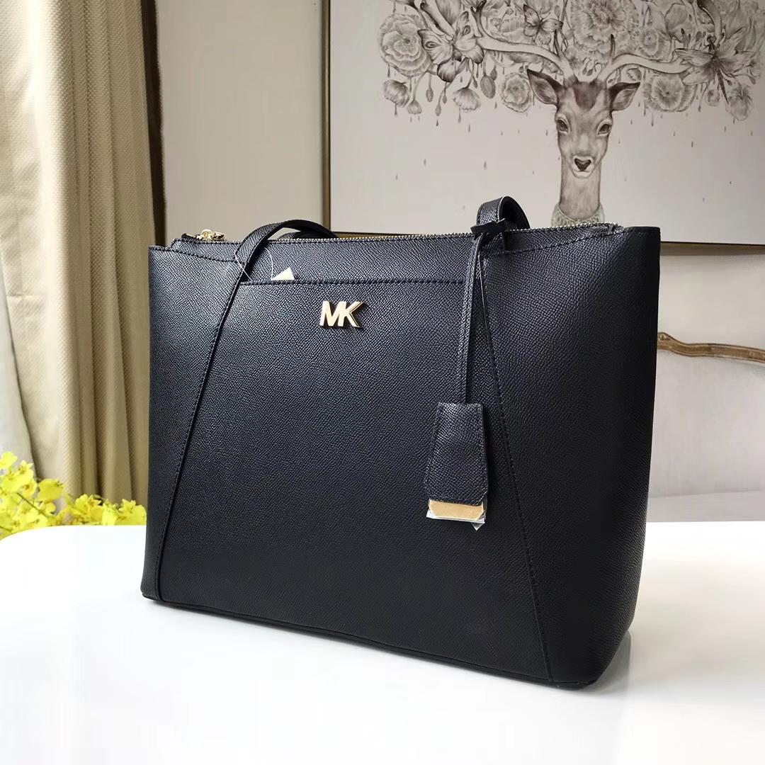 迈克科尔斯包包 MK黑色进口十字纹牛皮单肩女包新款购物袋33CM