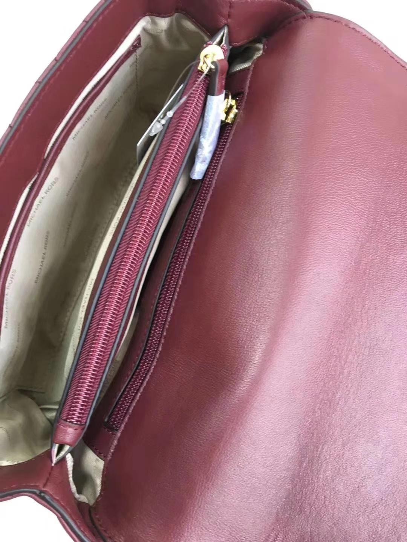 MK2018新款包包 迈克高仕原单羊皮菱格包Sloan单肩斜挎包26cm 酒红色