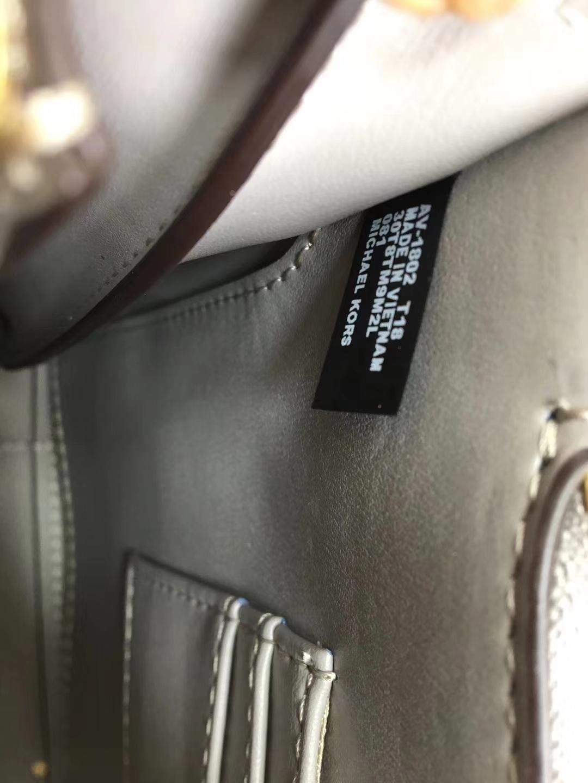 迈克高仕女包 MK官网新款风琴包杨幂同款牛皮包包手提单肩包 灰色拼