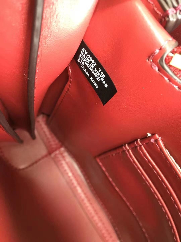 迈克高仕包包官网 MK红色拼色荔枝纹牛皮杨幂同款风琴包手提女包