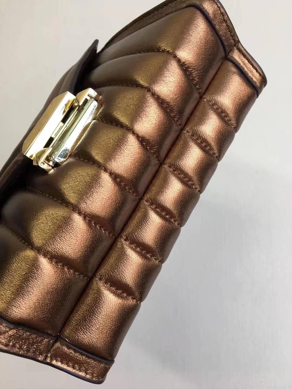 迈克高仕女包 MK Whitney 金色羊皮链条单肩斜挎包包两个尺寸