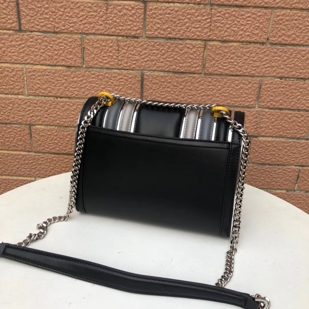 MK19年新款女包 迈克高仕原单牛皮拼接信封包撞色链条单肩斜挎包25CM 黑色
