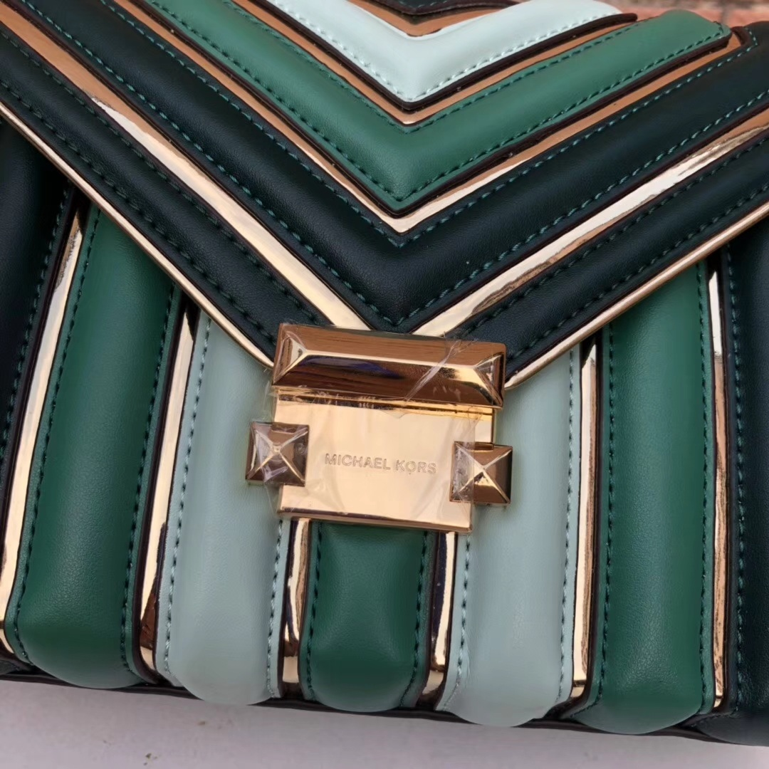 厂家直销 MK迈克科尔斯绿色牛皮撞色拼接Whitney系列女包链条单肩斜挎包25CM