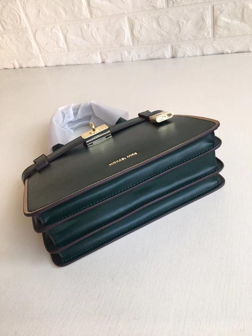 MK包包批发 迈克科尔斯2019新款绿色进口纳帕牛皮金边风琴包手提女包23CM