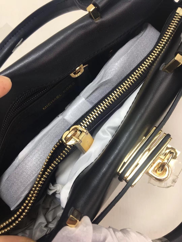 迈克科尔斯包包 MK新款风琴包 黑色进口纳帕牛皮手提女包公文包32CM