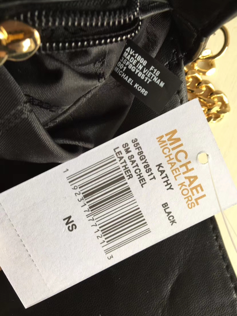 MK包包官网 迈克科尔斯黑色花瓣绣花新款羊皮链条单肩女包21cm
