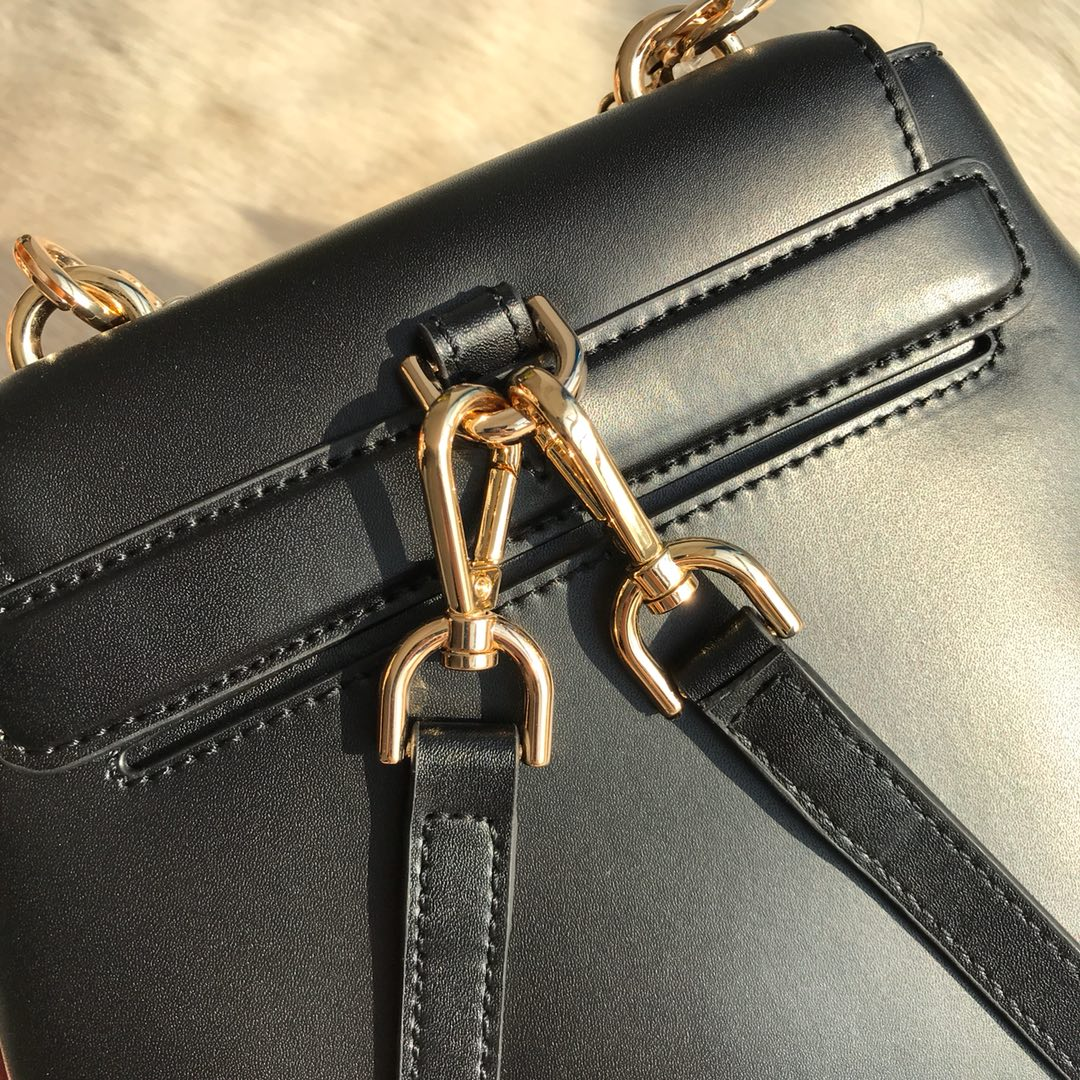 MK杨幂同款双肩包 MKGO系列黑色进口牛皮cool双肩背包链条手提包