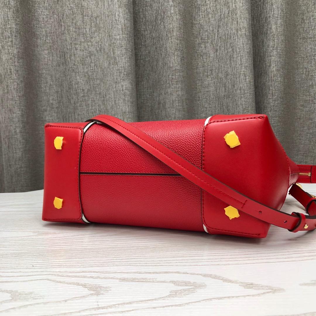MK2019新款购物袋 迈克高仕红色荔枝纹牛皮手提单肩女包31CM