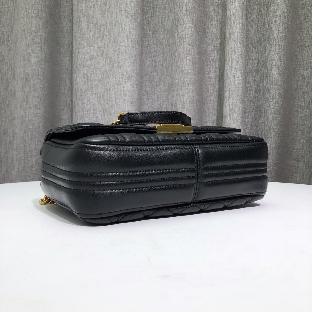 迈克高仕包包 MK2019新款小香风刺绣山茶羊皮链条单肩斜挎女包26CM 黑色