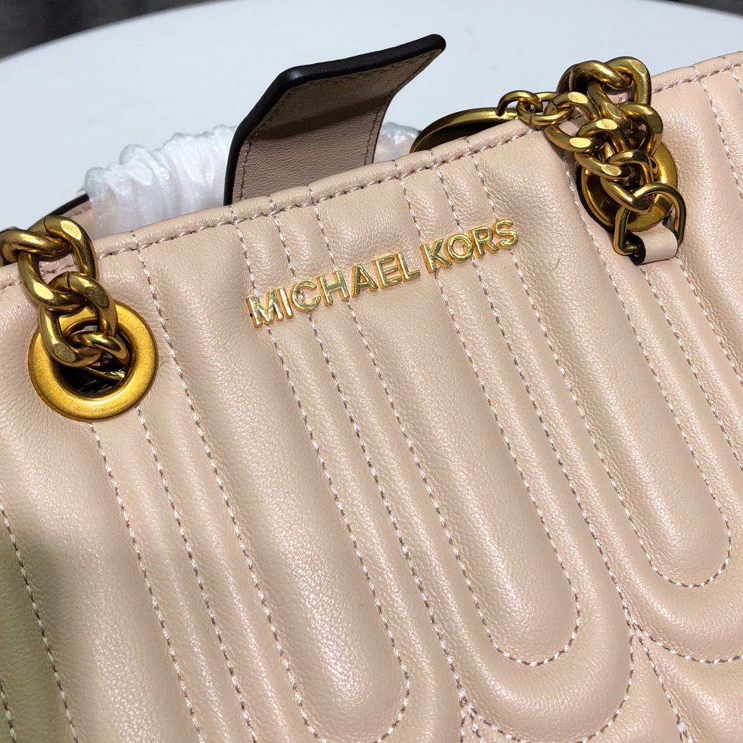 MK包包批发 迈克科尔斯2019新款山茶系列粉色羊皮玳瑁包单肩斜挎女包24CM