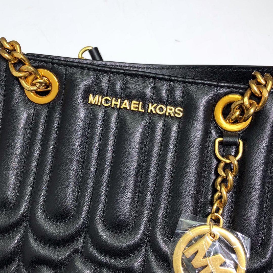 迈克科尔斯包包 MK最新款山茶系列羊皮小香风玳瑁包链条单肩斜挎包24CM