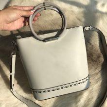厂家直销 MK迈克高仕灰色进口纳帕牛皮铆钉手环水桶包单肩斜挎女包21.5cm