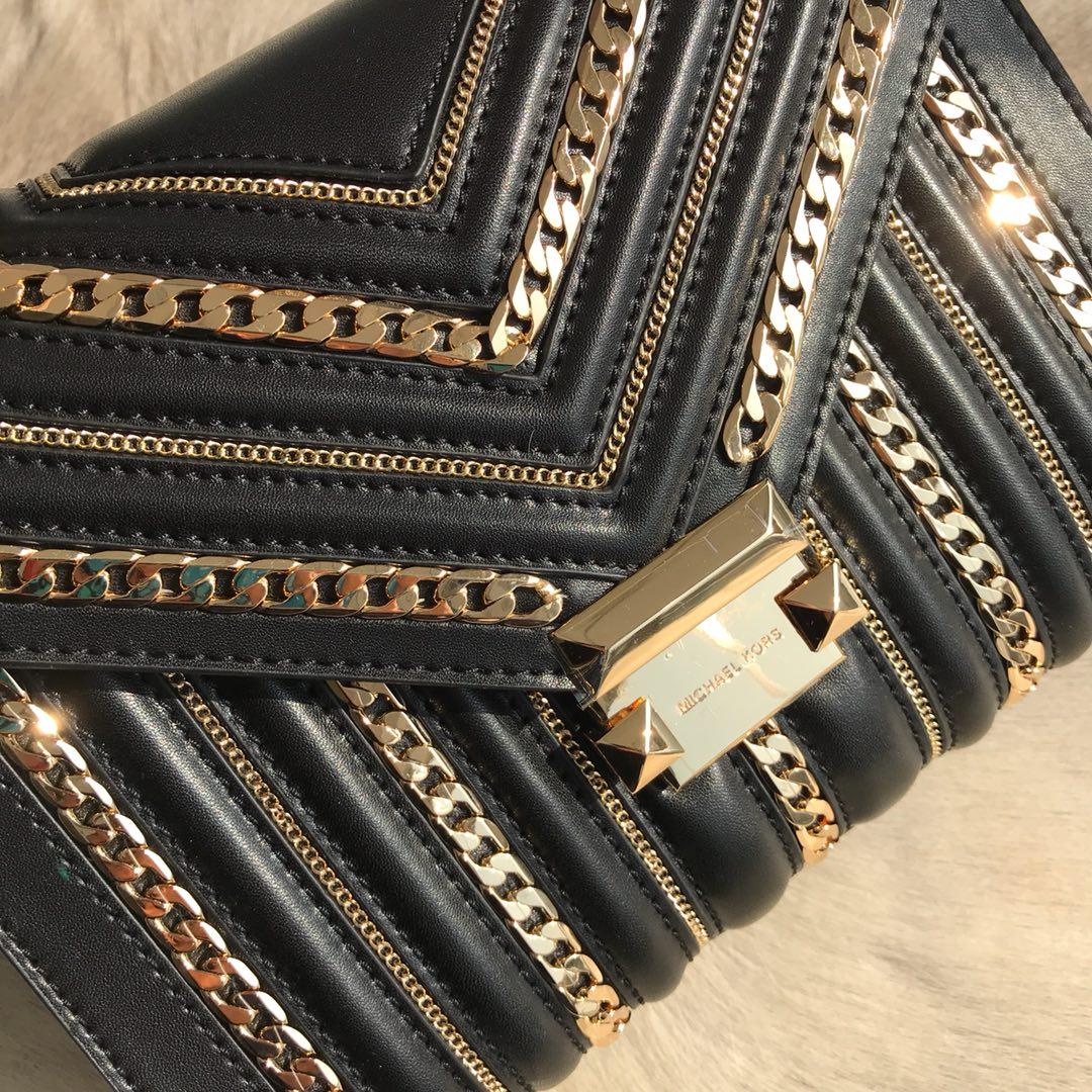 广州白云皮具城 MK迈克高仕原单Whitney系列大号金色链条装饰单肩女包24CM