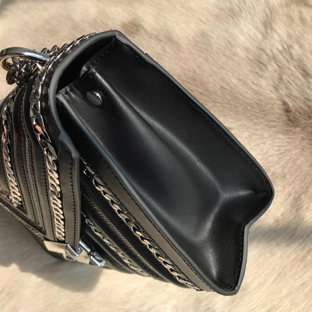MK Whitney包包 MK原单黑色牛皮链条装饰单肩斜挎女包24CM 银色五金